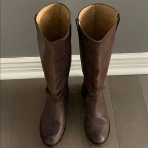 Frye gorgeous tall brown leather boots sz 9